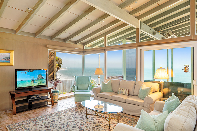 Living room with beautiful ocean view